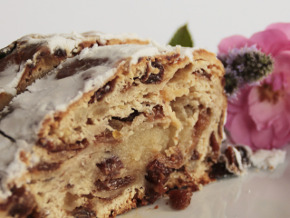 frosted cake with raisins