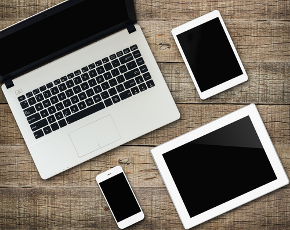 laptop with tablets and smart phone