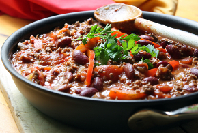 vegetarian chili cooked in a pan